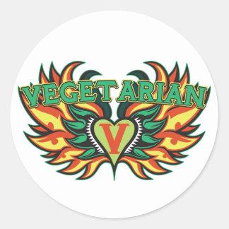 Vegetarian Wings Classic Round Sticker