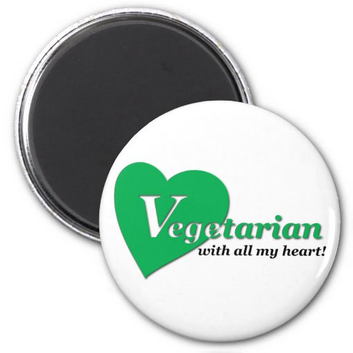Vegetarian with all my heart 2 inch round magnet