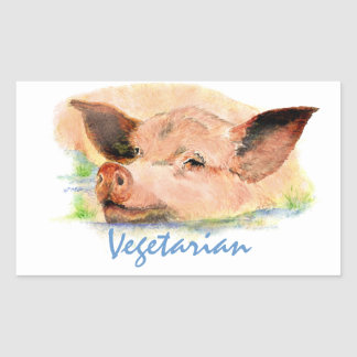 Vegetarian with Cute Watercolor Pig Rectangular Sticker