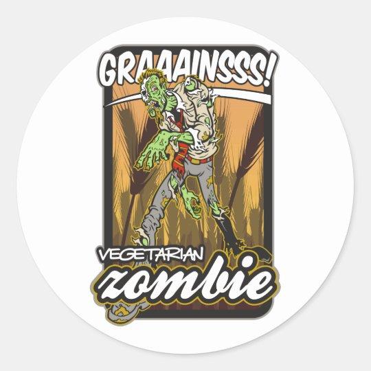 Vegetarian Zombie Classic Round Sticker