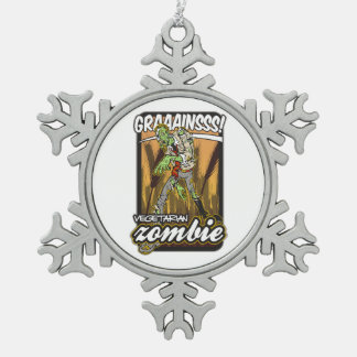 Vegetarian Zombie Snowflake Pewter Christmas Ornament
