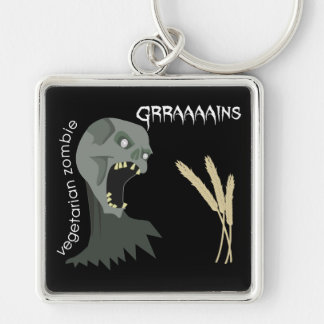 Vegetarian Zombie wants Graaaains! Silver-Colored Square Keychain
