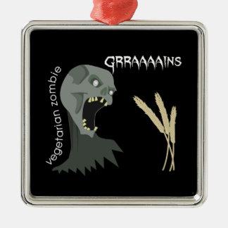 Vegetarian Zombie wants Graaaains! Metal Ornament