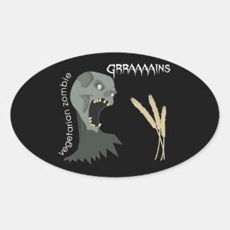 Vegetarian Zombie wants Graaaains! Oval Sticker