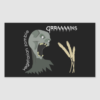 Vegetarian Zombie wants Graaaains! Rectangular Sticker