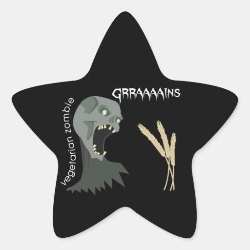 Vegetarian Zombie wants Graaaains! Star Sticker
