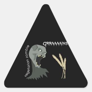 Vegetarian Zombie wants Graaaains! Triangle Sticker