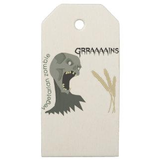 Vegetarian Zombie wants Graaaains! Wooden Gift Tags