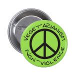 vegetarianism non-violence pin redondo de 2 pulgadas
