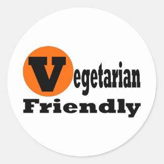 Vegetariano amistoso pegatina redonda