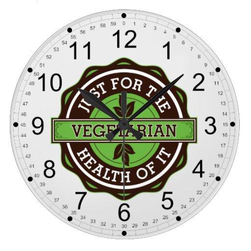 Vegetariano apenas para la salud de ella reloj de pared
