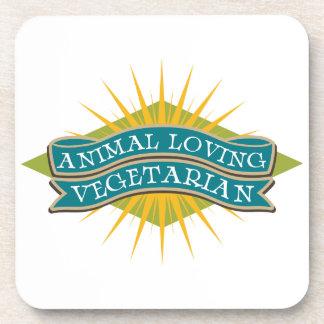 Vegetariano cariñoso animal posavasos de bebidas