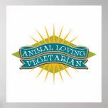 Vegetariano cariñoso animal posters