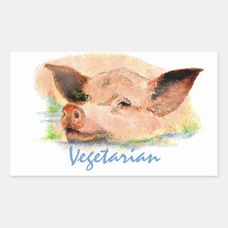 Vegetariano con el cerdo lindo de la acuarela pegatina rectangular