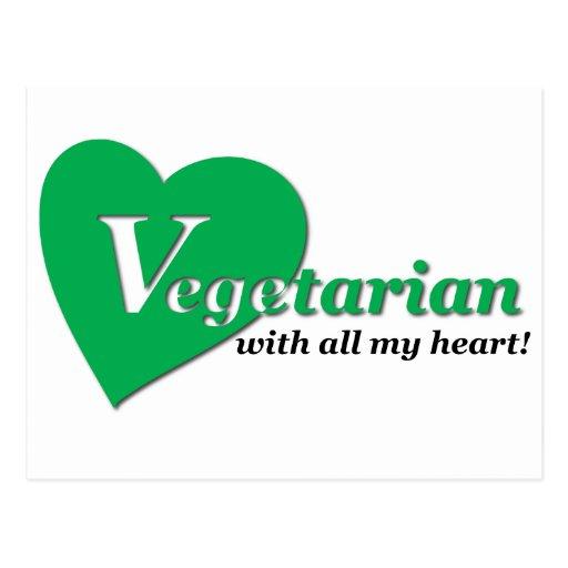 Vegetariano con todo mi corazón postal