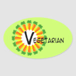 Vegetariano de Sun del círculo de la zanahoria Pegatinas Ovales