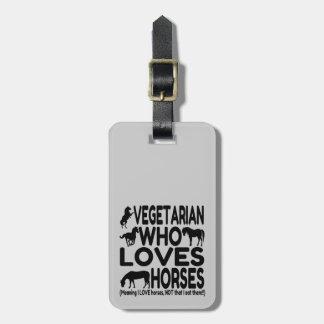Vegetariano del amante del caballo divertido etiquetas para maletas