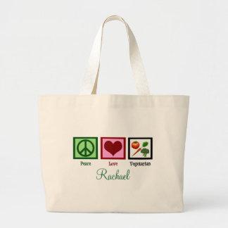 Vegetariano del amor de la paz personalizado bolsa tela grande