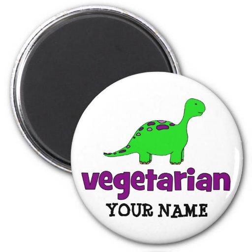 Vegetariano - diseño del dinosaurio imán redondo 5 cm