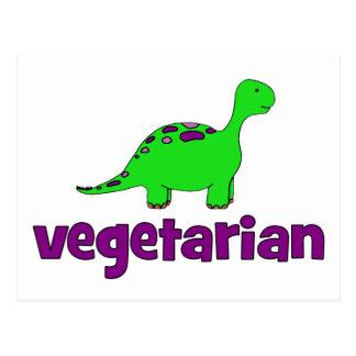 Vegetariano - diseño del dinosaurio tarjeta postal