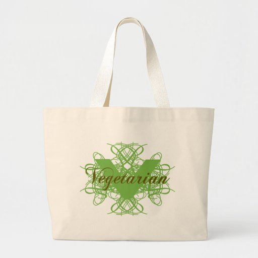 Vegetariano elegante bolsa tela grande