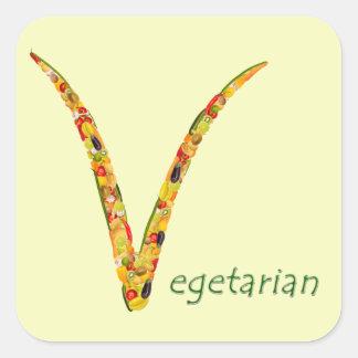 """""""Vegetariano"""" - no dude en añadir su propio texto Pegatina Cuadrada"""
