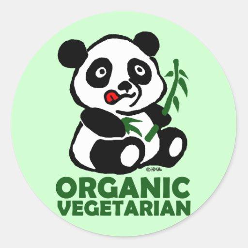 Vegetariano orgánico etiqueta redonda