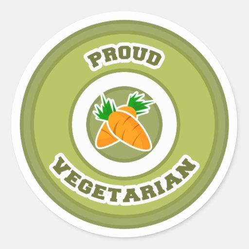 Vegetariano orgulloso etiquetas redondas
