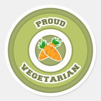 Vegetariano orgulloso pegatina redonda