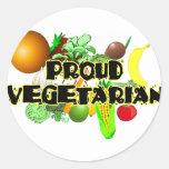 Vegetariano orgulloso pegatinas redondas
