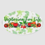 Vegetariano para la vida calcomania de óval