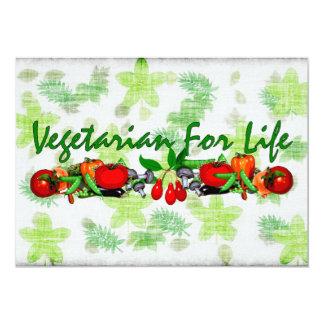 """Vegetariano para la vida invitación 5"""" x 7"""""""