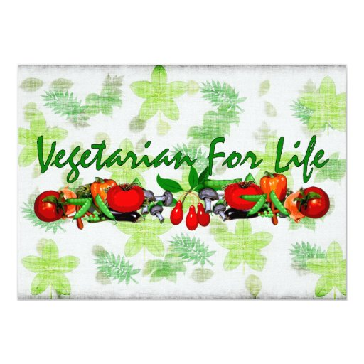 Vegetariano para la vida invitacion personalizada