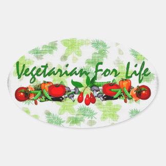 Vegetariano para la vida pegatina ovalada