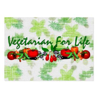 Vegetariano para la vida tarjetas de visita grandes