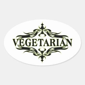 Vegetariano Pegatina Ovalada