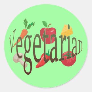 Vegetariano Pegatina Redonda