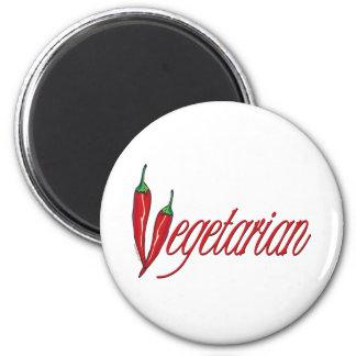 Vegetariano picante imán redondo 5 cm