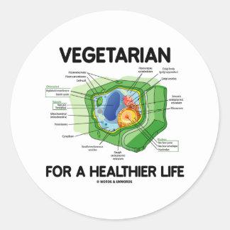 Vegetariano por una vida más sana (célula de la pegatina redonda