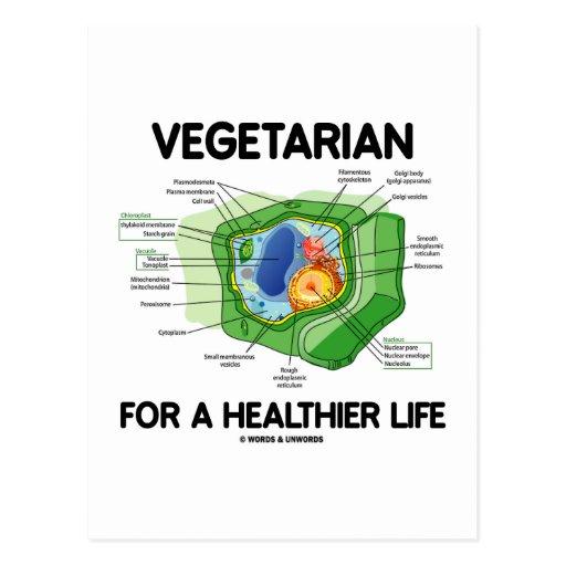 Vegetariano por una vida más sana (célula de la pl postal