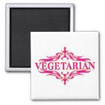 Vegetariano rosado imanes de nevera
