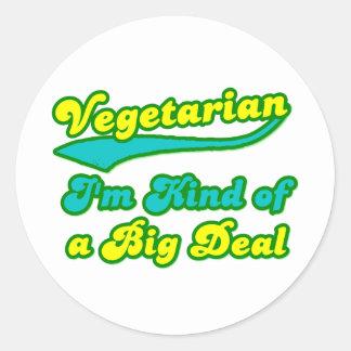 Vegetariano soy un poco una gran cosa pegatina redonda