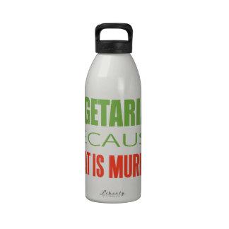 Vegetariano, vegano, los derechos de los animales botella de agua reutilizable