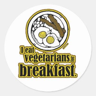 Vegetarianos para el desayuno pegatina redonda