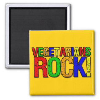 Vegetarians ROCK 2 Inch Square Magnet