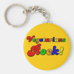 Vegetarians Rock Basic Round Button Keychain