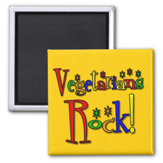 Vegetarians Rock (retro style) 2 Inch Square Magnet
