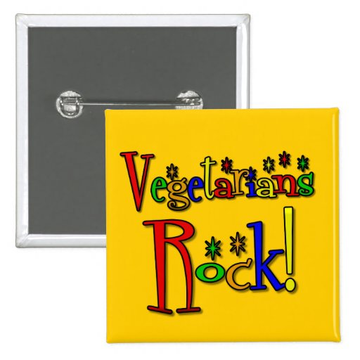 Vegetarians Rock (retro style) Buttons