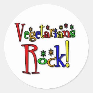 Vegetarians Rock (retro style) Classic Round Sticker