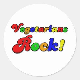 Vegetarians Rock Round Stickers